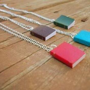 Bookworm Real Miniature Book Necklace by SeizeTheNight on Etsy