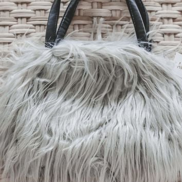 Bradshaw Grey Faux Lamb Fur Purse