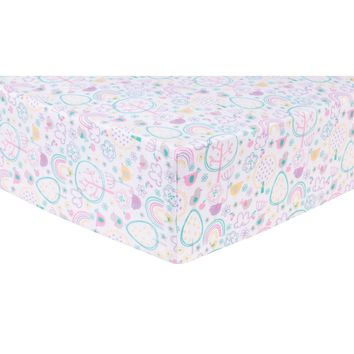 Rainbow Birds Deluxe Flannel Fitted Crib Sheet