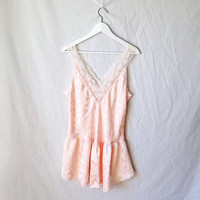 pale pink silky floral lace nighty // nightgown mini slip dress // lingerie // xs small medium large