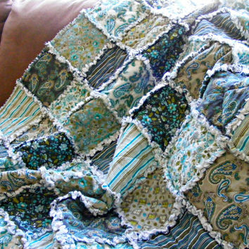 Throw/Lap Rag Quilt, Gypsy/ Skipping Stones Studio/ Handmade, Turquoise, Greens, Taupe 48 X 62, Ready To Ship, Modern, Fresh. Contemporary