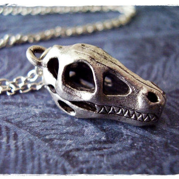 Silver Fossil Dinosaur Skull Necklace - Antique Pewter Dinosaur Skull Charm on a Delicate 18 Inch Silver Plated Cable Chain