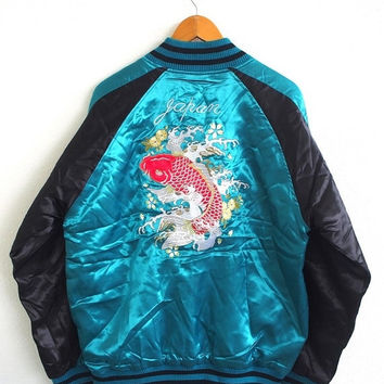 BIG SALE 25% SOUVENIR Japan Sukajan Fish Koi Wagara Vintage 80's Embroidery Okinawa Satin Bomber Jacket Size 3L Mint