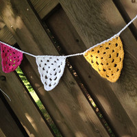 Crochet Bunting  Flags  Pennants  pink yellow white by Parachet