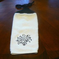Embroidered Black Dachshund Hanging Dish Towel With Hand Knit Topper