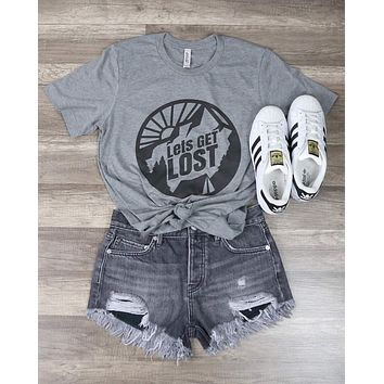 Distracted - Let's Get Lost Graphic Tee in Gray
