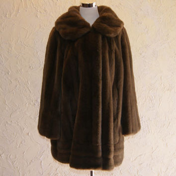 Vintage Tissavel For Country Pacer Brown Knee Length Faux Fur Coat Or Jacket Long Sleeve 1950s