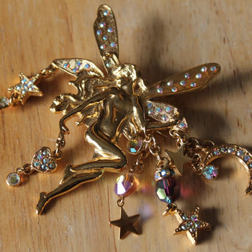 Rare Vintage fairy pin brooch from Kirks Folly,aurora borealis rhinestone wings and dangling star moon and crystal charms