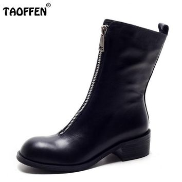 TAOFFEN Winter Women Boots Genuine Real Leather Round Toe Zipper Half Boots Female Sqaure Heel Botas Mujer Women Shoe Size 34-39
