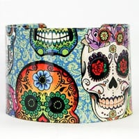 Skull Skeleton Tattoo Cuff Bracelet Colorful Flower Emo Goth Punk BOHO Biker