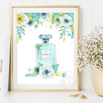 Chanel Perfume Print, Floral Chanel Art, Chanel No 5, Coco Chanel Art, Chanel Perfume, Floral Print, Fashion Prints, Gift For Her, Poster