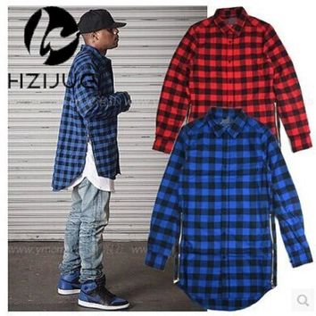 Red Blue Scottish Plaid Long Sleeve Flannel shirt Men Dance Bboy Shirt Golden Side Zipper Oversize Plaid Lengthen Shirt Man