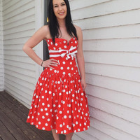 80s Red Polka Dot Strapless Dress Victor Costa Party Gown Retro Vintage 1980s S