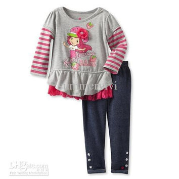 Autumn children suits baby girls lace Frilly stripe sleeve Strawberry girl pattern t-shirt+black leggings 2pcs sets kids costumes 1580