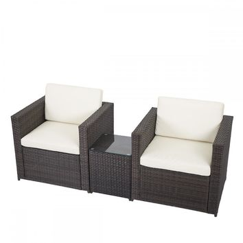 3 PCS Outdoor Patio Sofa Set Sectional Furniture PE Wicker Rattan Deck Couch F5