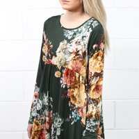 Precious Florals Babydoll Tunic {Hunter Green Mix}