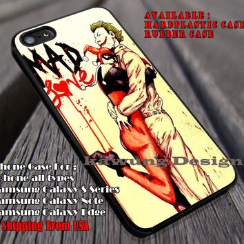 Love, Mad Love, Harley Quinn, Joker, Clown, Couple Hugging, case/cover for iPhone 4/4s/5/5c/6/6+/6s/6s+ Samsung Galaxy S4/S5/S6/Edge/Edge+ NOTE 3/4/5 #cartoon #animated #batman ii