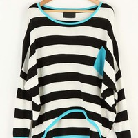 Striped Pocket Color Matching Bat Sleeve Sweater Black - Sheinside.com