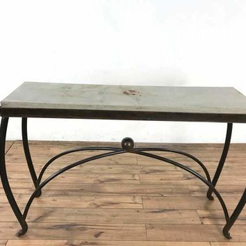 Jan Barboglio Handcrafted Wrought Iron and Stone Console Table