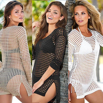 saidas de praia  Sexy Crochet Cover-ups summer fashion swimwear beach cover up women bathing suit beachwear 415
