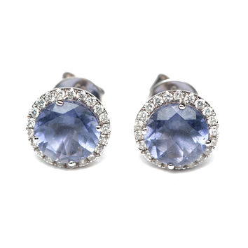Anna Beth Iolite And Diamond Studs