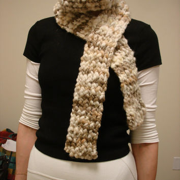 Merino Thick and Thin Wool Scarf Neutral Colors Cream and Beige