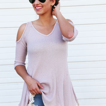Thermal + Crochet Open Shoulder Tunic