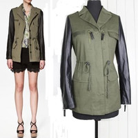 2014 Fashion Lady Army Green Parka Womens Sleeve Jacket coat Trench Outwear Coat PU Leather