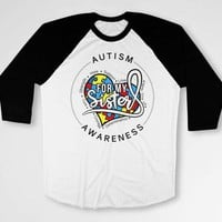 Autism Support Shirt Awareness Gifts Big Brother Shirt Puzzle Piece Sibling Outfit Autistic T Shirt For My Sister Baseball Raglan Tee DN-616