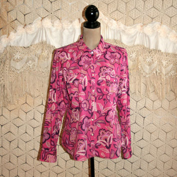 Dark Pink Paisley Blouse Long Sleeve Western Shirt Snaps Plus Size Clothing Floral Print Cotton Blouse Izod Size 16 1X XL Womens Clothing