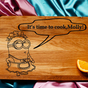 Minion personalized cutting board, Gift for Her, Gift for Him, Personalized gift cutting board