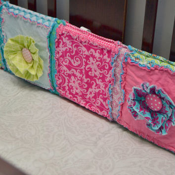 Custom Crib Bumpers, Ruffled Flowers in Pink, Turquoise, Rag Quilt Style, You Design for your Little Girl