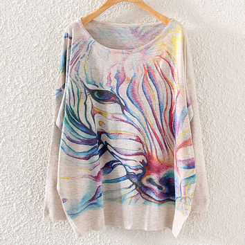 Cute Women's Zebra Printed Knit Pullover Sweater