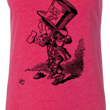 Alice in Wonderland - Mad Hatter Hastily (Black) Tri-Blend Racerback Tank-Top