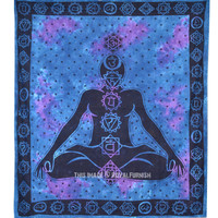 Large Blue Meditation Chakra Tapestry, Tie Dye Wall Hanging Bedding Bedspread on RoyalFurnish.com