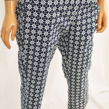 Charter Club Women Blue Print Pull-On Cambridge Slim Capri Crop Pant 8