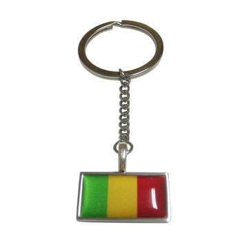 Thin Bordered Mali Flag Pendant Keychain