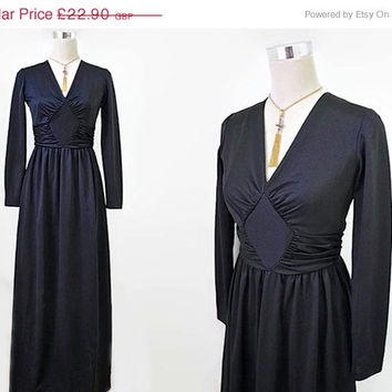 ON SALE - 70's Maxi Dress - Long Black Dress - Vintage Dress - Cocktail Party Disco