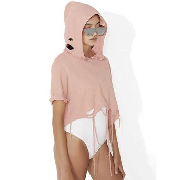 LMFMS9 Hoodies Tops Winter Short Sleeve Ripped Holes Tassels Hats [256912588826]