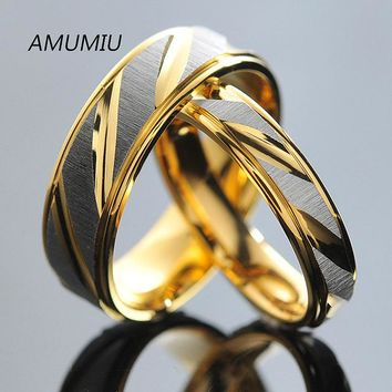 AMUMIU Stainless Steel Couples Rings for Men Women Gold Wedding Bands Engagement Anniversary Lovers his or hers promise