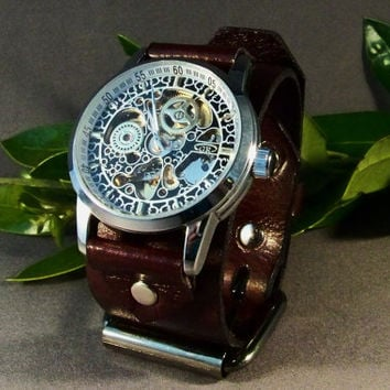 Leather Watch Black and Gold Abstract Style by 4MLeatherDesign