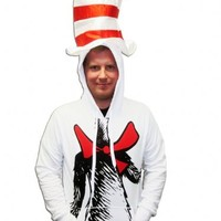 Dr. Seuss The Cat in the Hat White Adult Costume Hooded Hoodie with Attached Hat