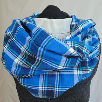 Blue Plaid Scarf, Tartan Plaid, Plaid Infinity Scarf, Flannel Scarf, Winter Scarf, Mens Scarf, Womens Scarf, Oversized Scarf, Christmas Gift