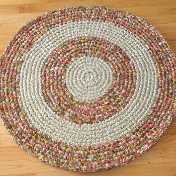 Round Hand Crocheted Cotton Fabric Rag Rug / Shades of Salmon and Green with Cream