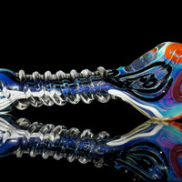 Ultra Long Crazy Design Spoon Pipe with Spiral Grip Wrap - Colorful Fun Pattern Unique Shape Heavy Glass Smoking Bowl