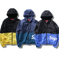 """Supreme"" Hooded Zipper Cardigan Sweatshirt Jacket Coat Windbreaker Sportswear"