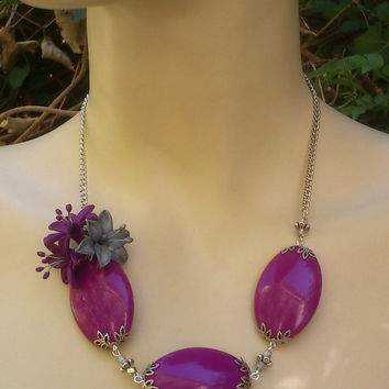 Violet earrings and necklace - Lily jewelry - Handmade jewelry