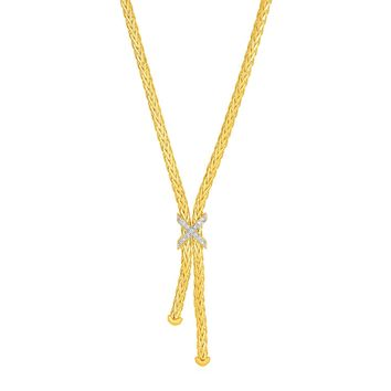 Rope Lariat Necklace with X Shaped Focal Element with Diamonds in 14K Yellow Gold