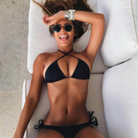 Sexy Women's Solid Bandage Two Piece Bikini Set Swimwear Beach Wear Bathing Suit