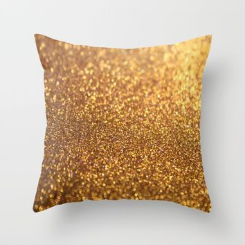 Golden Glitter Shiny Throw Pillow by WonderfulDreamPicture